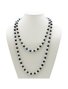 Navy Blue and White Pearl Necklace by PalmBeach Jewelry
