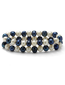 Navy Blue/White Pearl Bracelet Set by PalmBeach Jewelry