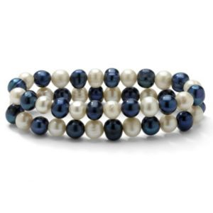 Navy Blue/White Pearl Bracelet Set