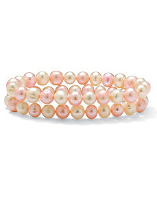 Pink and White Pearl Bracelet Set by PalmBeach Jewelry