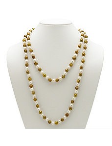 Golden Yellow/White Pearl Necklace by PalmBeach Jewelry