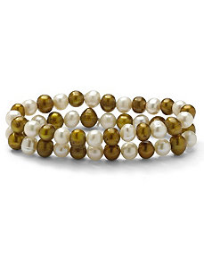 Golden Yellow/White Pearl Set by PalmBeach Jewelry