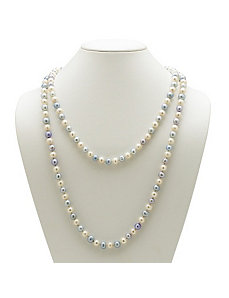 Aquamar. Blue/White Pearl Necklace by PalmBeach Jewelry