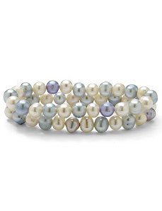 Blue & White Pearl Bracelet Set by PalmBeach Jewelry