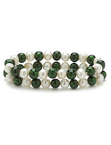 Green and White Pearl Bracelet Set by PalmBeach Jewelry