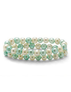 Blue and White Pearl Bracelet Set by PalmBeach Jewelry