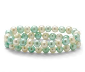 Blue and White Pearl Bracelet Set