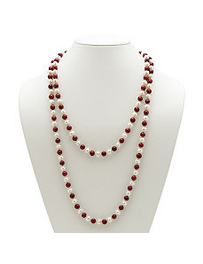 Ruby Red and White Pearl Necklace by PalmBeach Jewelry