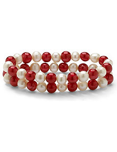 Ruby Red/White Pearl Bracelet Set by PalmBeach Jewelry