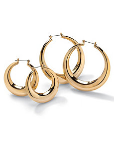 Set of 2 Pairs of Hoop Earrings by PalmBeach Jewelry