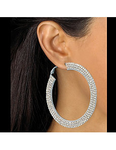 Multi-Crystal Hoop Pierced Earrings by PalmBeach Jewelry