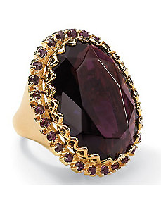 Amethyst-Colored Crystal Ring by PalmBeach Jewelry