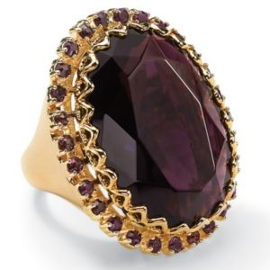 Amethyst-Colored Crystal Ring