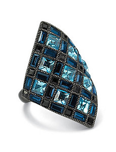 Blue & Black Crystal Ring by PalmBeach Jewelry