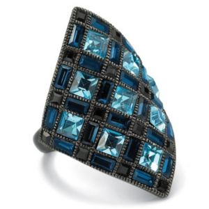 Blue & Black Crystal Ring