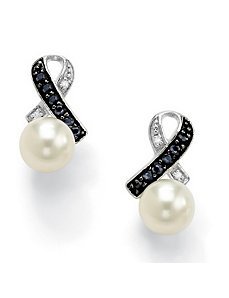 Freshwater Pearl/Sapphire Earrings by PalmBeach Jewelry