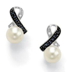 Freshwater Pearl/Sapphire Earrings