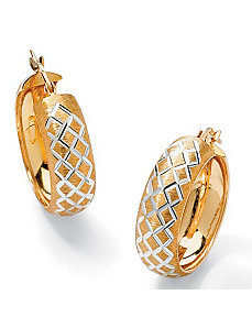 Diamond-Cut Hoop Pierced Earrings by PalmBeach Jewelry
