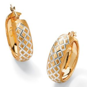 Diamond-Cut Hoop Pierced Earrings