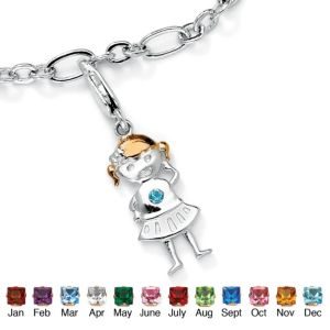Girl Birthstone Charm