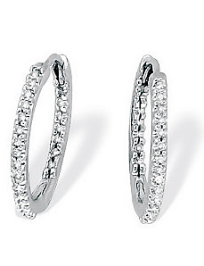 Diamond Inside-Out Hoop Earrings by PalmBeach Jewelry