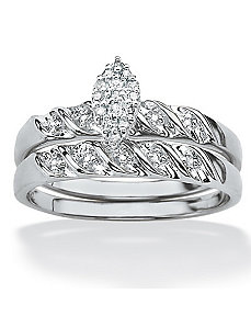 Two-Piece Diamond Wedding Ring Set by PalmBeach Jewelry