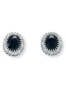 Midnight Blue Sapphire Earrings by PalmBeach Jewelry