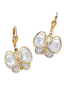 Filigree Butterfly Pierced Earrings by PalmBeach Jewelry