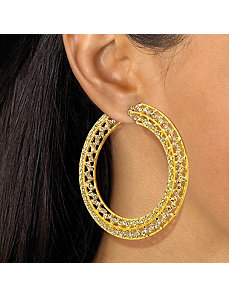 Multi-Crystal Hoop Earrings by PalmBeach Jewelry