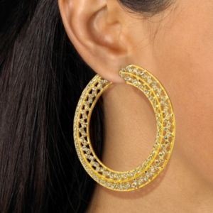 Multi-Crystal Hoop Earrings