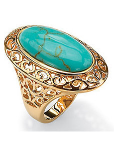 Simulated Turquoise Filigree Ring by PalmBeach Jewelry