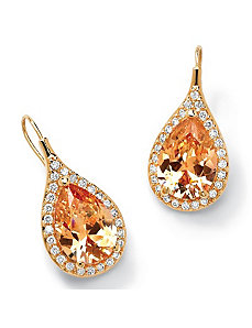 Champagne/Whitecubic zirconia Pierced Earrings by PalmBeach Jewelry