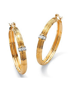 Cubic Zirconia Ribbed Hoop Earrings by PalmBeach Jewelry