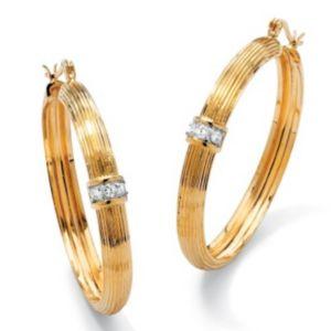Cubic Zirconia Ribbed Hoop Earrings