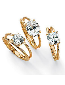 Set of 3cubic zirconia Ribbed Stack Rings by PalmBeach Jewelry
