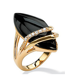 Marquise-Shaped Onyx andcubic zirconia Ring by PalmBeach Jewelry