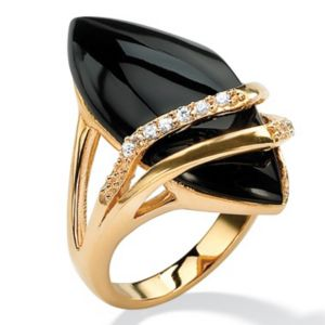 Marquise-Shaped Onyx andcubic zirconia Ring