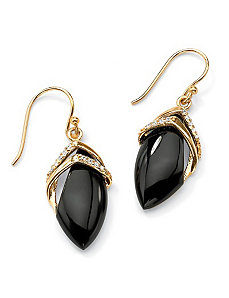 Marquise-Shaped Onyx/Cubic Zirconia Earrings by PalmBeach Jewelry