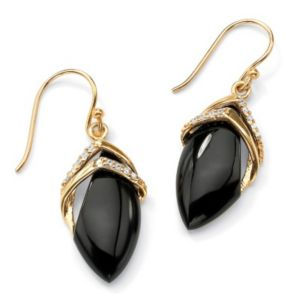 Marquise-Shaped Onyx/Cubic Zirconia Earrings