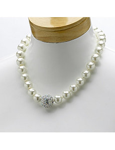 Simulated Pearl/Crystal Necklace by PalmBeach Jewelry