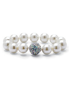 Simulated Pearl/Crystal Bracelet by PalmBeach Jewelry