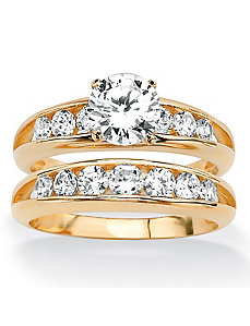 Round Cubic Zirconia Wedding Set by PalmBeach Jewelry