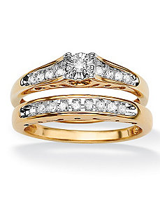 Round Diamond Cutout Ring Set by PalmBeach Jewelry