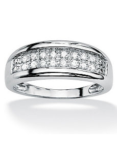 Round Diamond Double-Row Ring by PalmBeach Jewelry