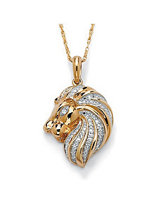 Diamond Accent Lion Head Pendant by PalmBeach Jewelry