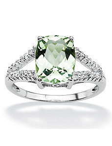 Green Amethyst/Diamond Accent Ring by PalmBeach Jewelry