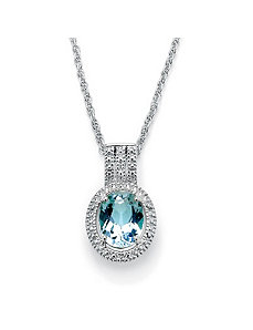 Blue Topaz & Diamond Accent Pendant by PalmBeach Jewelry