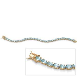 Oval-Cut Blue Topaz Tennis Bracelet