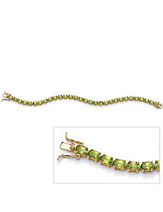 Oval-Cut Peridot Tennis Bracelet by PalmBeach Jewelry