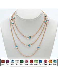 Princess-Cut Birthstone Necklace by PalmBeach Jewelry